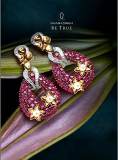 Nominated in the top 5 Coloured Stone Jewellery Category, these earrings add a stunning touch of elegance to every facet. #JharokhaCollection #Rubies #Pearls #Diamonds #Jewellery #sparkle #Star #FashionJewellery