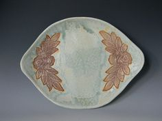 Lace Impressed Serving Platter by blueheronpottery on Etsy