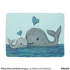 Whale Mom And Baby With Hearts In Gray And Turquoise Art Print by Elephant Trunk Studio - X-Small Whale Nursery, Baby Whale, Elephant Nursery, Sea Nursery, Baby Boy Rooms, Baby Boy Nurseries, Baby Boys, Turquoise Art, Turquoise Couch