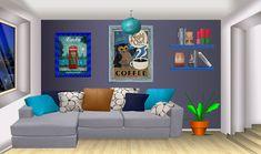 INT APARTMENT BLUE LIVING ROOM NIGHT Cenário anime Interiores Fundo de animação