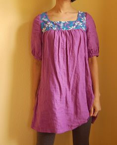 Purple Linen Tunic from Japanese sewing book