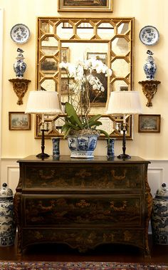 blue and white  with mirror and corbels