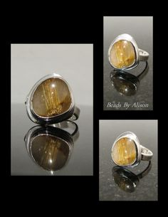 Rutilated Quartz sterling silver bezel set ring. Cabochon by Chuck from Cabochon, Silver by Beads By Alison. Gemstones & Cabochons - Beads By Alison