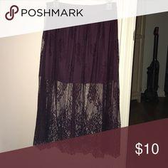 Plum skirt with a lace overlay! Plum mini skirt with a lace overlay that hits mid shin Forever 21 Skirts Mini