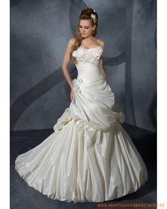 Brautmode 2013 aus Taft Brautkleider mit delikaten Blumen schulterfreies Mieder