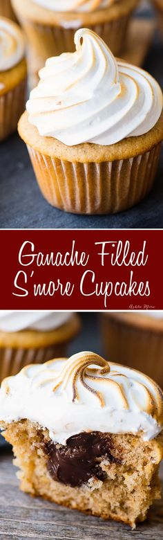 These s'more cupcakes feature a fluffy graham cracker cupcake and are filled with a soft chocolate ganache and topped with homemade marshmallow frosting