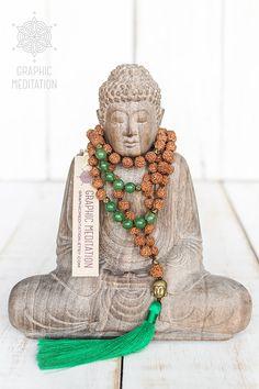 Rudraksha Mala beads with Green Aventurine by GraphicMeditation