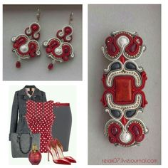 #soutache #yuliaozmen #red #white #fashion #grey