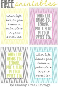 Free art: When life hands you lemons printables