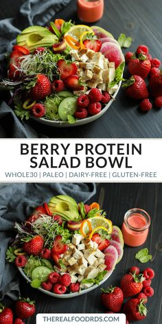 Berry Protein Salad Bowl - The Real Food Dietitians - Whole 30 info - Salat Dairy Free Salads, Dairy Free Recipes, Paleo Recipes, Real Food Recipes, Gluten Free, Protein Recipes, Ketogenic Recipes, Healthy Summer Recipes, Healthy Salad Recipes