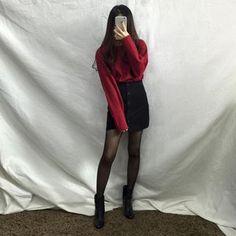 Korean Summer Fashion여름패션  Ankle high black boots, long sleeved red shirt, button up black mini skirt, black see-through tights