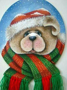 Christmas Animals, Christmas Love, Christmas Pictures, Beautiful Christmas, Christmas Crafts, Christmas Decorations, Christmas Ornaments, Pintura Country, Teddy Bear Pictures