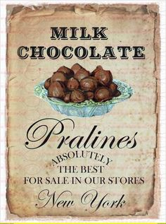 Vintage Bügelbild Schokolade Pralinien DIN A4