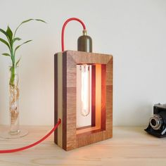 Contemporary wood lamp with dimmer switch, geometric vintage wooden light fixture, edison lamp rustic lighting fixture, dorm decor lighting Living Room Light Fixtures, Rustic Light Fixtures, Rustic Lighting, Shop Lighting, Lighting Ideas, Diy Luminaire, Luminaire Design, Lamp Design, Rustic Table Lamps