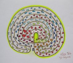 233 My Labyrinth, by Miekrea NL - 18 Sept. 2004 (used: crayons, black fineliner, gold marker and yellow gel pen)