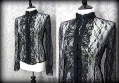 Romantic Goth Black Ruffled High Collar Top M 12 Dark Romance Victorian Vamp | THE WILTED ROSE GARDEN