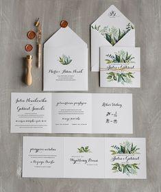 znajdz zaproszenia po kolorze zielony 02premiera/harm/z Wedding Cards, Wedding Invitations, Eucalyptus Wedding, Wedding Prints, Deco, Place Cards, Place Card Holders, Weddings, Masquerade Wedding Invitations
