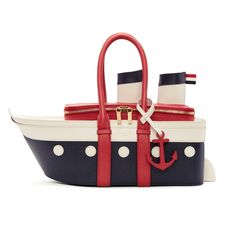 Thom Browne for Women Collection Leather Baby Bag, White Leather Handbags, Leather Duffle Bag, Leather Purses, Duffel Bag, Unique Handbags, Unique Purses, Cute Purses, Purses And Handbags