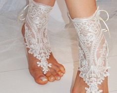 Incredible & Cute barefoot sandals. Perfect for the beach weddings and completely make you feel the sand at your acupuncture area. Usually preferred at wedding, at home, at yoga and as a bridesmaid gift.  * A pair (set of 2 pieces) * %100 Handicraft * Soft Cotton Lace * Fits for all feet * Unique Design * Embroidered and Crochet