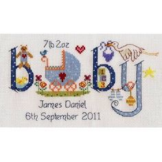 This fun-to-make and gorgeous to look at birth sampler cross stitch kit features a charming and unique design. Traditional newborn icons like the stalk, pushchair and rattle are scattered around a mot