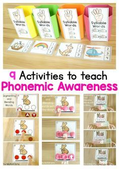 Phonemic Awareness is such an integral part to reading and writing. Unfortunately, many teachers skip over teaching this, but the truth is that it's just as important as learning phonics! Check out these 9 hands-on ways to help children learn to segment Learning Phonics, Phonics Activities, Reading Activities, Teaching Reading, Guided Reading, How To Teach Phonics, Reading Games, Early Reading, Reading Fluency