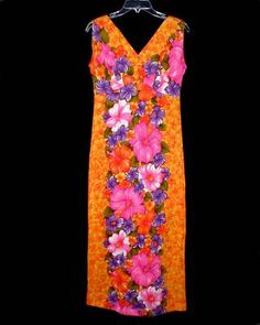 e3f3c3c8976b Sz M Vintage 60s SEARS HAWAIIAN FASHIONS Muumuu Dress Pleated Back