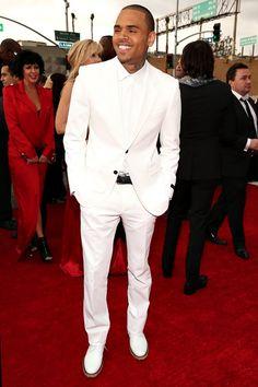 2013 Grammys Red Carpet: Chris Brown Rocks All White Lanvin!
