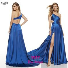 This long prom dress by Alyce 1517 gives a lot of fun vibes with one shoulder and cut out sides in chiffon material and a side slit that says vavavoom - shop prom-avenue Available in Sapphire Blue, Lipstick, Black Prom Dresses Blue, Homecoming Dresses, Formal Dresses, One Sleeve Dress, Prom Dance, Chiffon Material, Chiffon Gown, Pageant, Evening Gowns