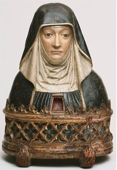 Reliquary Bust of a Benedictine Nun, possibly Saint Scholastica, artist/maker unknown, southern Netherlands or northern France. painted wood with remains of gilding Religious Icons, Religious Art, Statues, Art Premier, Art Sculpture, Philadelphia Museum Of Art, Effigy, Medieval Art, Sacred Art