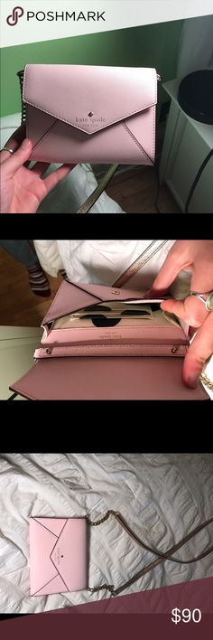 Kate Spade over the shoulder purse! So cute. Light pink Kate spade. Over the shoulder. Worn maybe 3 times, pretty much brand new. kate spade Bags Crossbody Bags