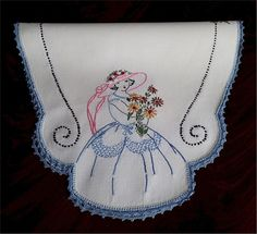 Lovely Vintage Hand Embroidered Southern Belle Centerpiece Doilie or Runner Lace Modern Embroidery, Hand Embroidery Patterns, Applique Patterns, Vintage Embroidery, Ribbon Embroidery, Vintage Crochet, Cross Stitch Embroidery, Embroidery Designs, Southern Belle