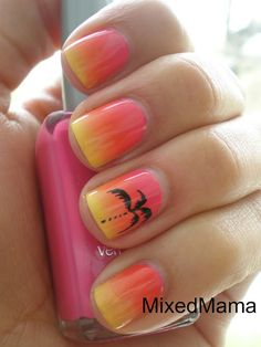 Ombre, neon nails with palm tree design.