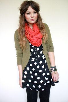black tights, navy printed dressed, green cardigan, peach looped scarf