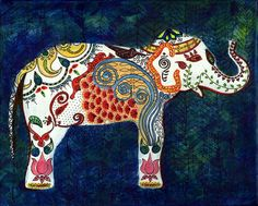 Queen Elephant - India Inspired Exotic Art Print - Limited Edition ...