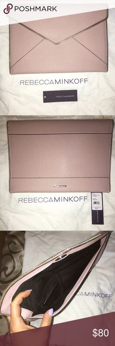 Rebecca Minkoff Leo Clutch in Vintage Pink This incredibly popular Rebecca Minkoff clutch is simply too small for my needs. It's sad bc this dusty rose color is stunning. Its never been worn. Needs a new home where it will be loved. Reasonable offers only will be considered. Rebecca Minkoff Bags Clutches & Wristlets