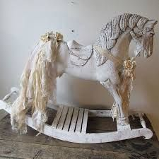 shabby vintage Ancient chocolate shape rocking horse