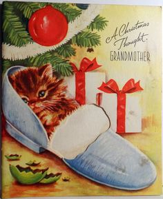 Vintage Christmas Card Kitten in a slipper