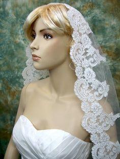 Bridal Mantilla veil elbow/fingertip/chapel V032 ivory/white