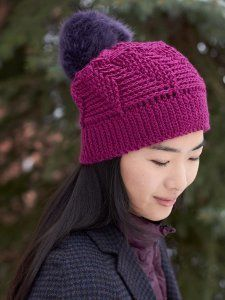 Pom poms are one of the hottest trends in crochet. This playful little accent is a wonderful way to add some spunk to any of your crochet patterns, such as this crocheted hat. The Radiant Orchid Pom Hat is both trendy and functional.
