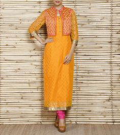 Yellow Chanderi Suit With Embroidered Jacket