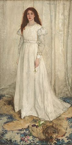 """James McNeill Whistler : """"Symphony in White, No. The White Girl"""" James Abbott Mcneill Whistler, Whistler's Mother, Boho Chic Wedding Dress, Famous Artwork, National Gallery Of Art, Traditional Wedding Dresses, Applique Wedding Dress, White Lilies, Art For Art Sake"""