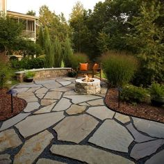 Flagstone Patio Ideas, Pictures, Remodel and Decor #trellisfirepit