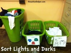 Life Skills Room - The Autism Helper Sort Light Clothes and Dark Clothes {use visual labels to help students discriminate - great life skill for children with autism} Life Skills For Children, Life Skills Lessons, Life Skills Activities, Life Skills Classroom, Teaching Life Skills, Special Education Classroom, Sorting Activities, Autism Classroom, Future Classroom