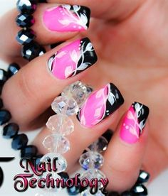 Nail art design!!  PINK & BLACK~ MY MOST FAVORITE COLORS!!!