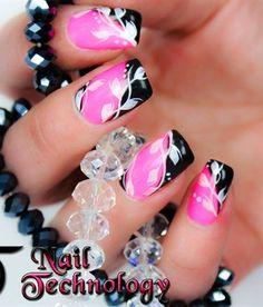 Nail art design!!  PINK & BLACK~ MY MOST FAVORITE COLORS!!!