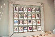 Instagram pics printed by Origrami and put on the frame fred made. DIY upcycled fence paling wooden frame and wire with wooden pegs