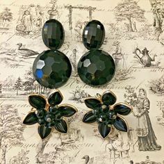 CORO Flower Earrings & Faceted Lucite Clip Earrings Round Oval Black 3 Pair Lot #Corounsigned #clipcluster Clip Earrings, Round Earrings, Flower Earrings, Clip C, Music City Nashville, My Ebay, Retro Vintage, Vintage Jewelry, Jewelry Accessories