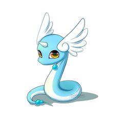 Pokémon - 148 Dragonair art by Shinekoshin (Sankaku Channel)