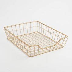 Gold Wire Antonia Paper Tray by World Market - April 27 2019 at Cute Desk Accessories, Home Office Accessories, Affordable Home Decor, Easy Home Decor, Eclectic Desks, Unique Desks, Letter Tray, Letter Holder, World Market Store