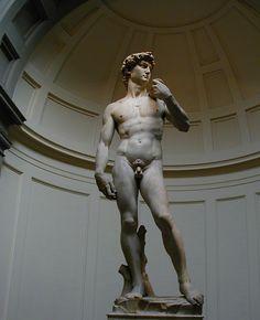 David. Se trata de la famosa escultura hecha por Miguel Ángel en 1504. Su estilo es renacentista.  He escogido esta obra porque es una de las más magníficas de toda la historia del arte. Aunque en realidad no me imagino a David con tanta desnudez, y ya que aparece desnudo debería tener hecha la circuncisión, creo yo.